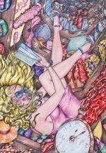 Alice in Wonderland,#2, 2016, Mischtechnik/Papier, 65x45cm