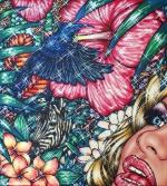 Flamingo Lagoon 3, 2017, Acryl/Molino, 90 x 80 cm