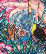 Flamingo Lagoon 5, 2017, Acryl/Molino, 120 x 100 cm