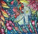 Flamingo Lagoon 6, 2017, Acryl/Molino, 80 x 90 cm