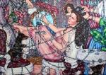 Café Royal 2018, Acryl/Molino, 100 x 140 cm