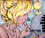Je Suis Une Petite Femelle, Il Faut Me Laisser Faire Ce Que J'Ai Envie. (B.B.) 2021, Acryl/Molino, 110 x 130 cm